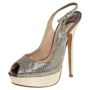 Jimmy Choo Metallic Gold Glitter Fabric And Embossed Leather Verity Peep Toe Platform Slingback Sandals Size 36