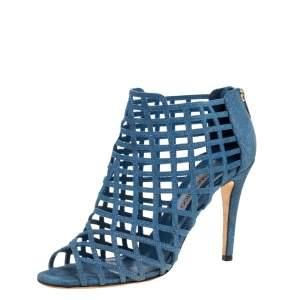 Jimmy Choo Blue Denim Dassa Peep Toe Cage Ankle Boots Size 41