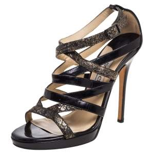 Jimmy Choo Black/Gold Leather and Python Embossed Strappy Sandals Size 38