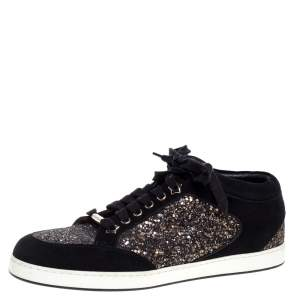 Jimmy Choo Black Glitter And Suede Miami Low Top Sneakers Size 40