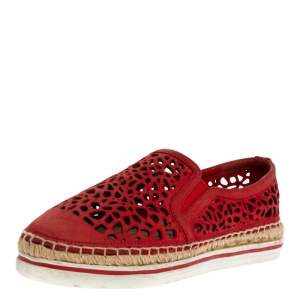 Jimmy Choo Red Cut Out Leather Dawn Slip On Espadrille Flats Size 35.5