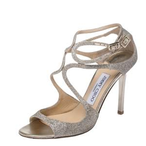 Jimmy Choo Gold Glitter Strappy Sandals Size 37