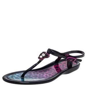 Jimmy Choo Black Jelly Leopard Print 'Maui Rob Pruitt' Flat Thong Sandals Size 36