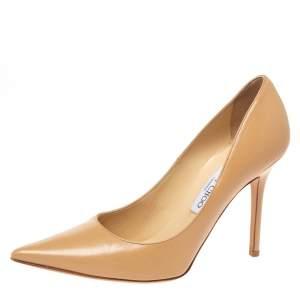 """حذاء كعب عالى جيمى تشو """"رومى"""" مقدمة مدببة جلد بيج مقاس 38.5"""