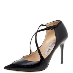 """حذاء كعب عالي جيمي تشو """"مالو"""" سيور متعاكسة حافة جلد لامع و جلد أسود و رصاصي مقاس 36.5"""