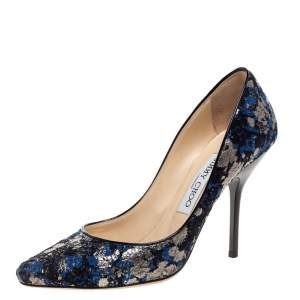 حذاء كعب عالي جيمي تشو مغطى دانتيل فضي و أزرق مقاس 36.5