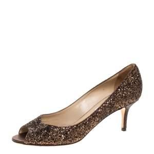 """حذاء كعب عالي جيمي تشو """"لونا"""" مقدمة مفتوحة قماش غليتر كوارس برونزي ميتاليك مقاس 39.5"""