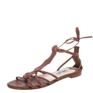 Jimmy Choo Brown Leather Stitch Detail Gladiator Ankle Wrap Flat Sandals Size 41