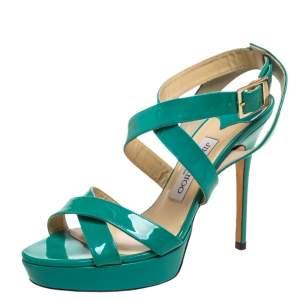 Jimmy Choo Green Patent Leather Vamp Platform Sandals Size 38.5
