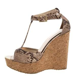 Jimmy Choo Brown/Beige Python Embossed Pela Cork Wedge T-Strap Sandals Size 37