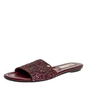 Jimmy Choo Metallic Burgundy Coarse Glitter Nanda Flat Slides Size 38