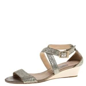 Jimmy Choo Silver/Gold Coarse Glitter Ankle Strap Sandals Size 39.5