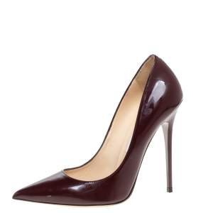Jimmy Choo Burgundy Patent Leather Romy Pointed Toe Pumps Size 38