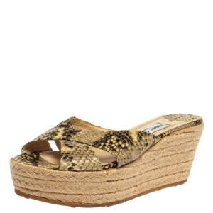 Jimmy Choo Multicolor Snakeskin Embossed Leather 'Paisley' Sandals Size 39