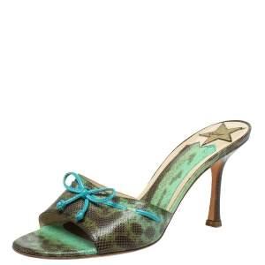 Jimmy Choo Vintage Green/Brown Lizard Skin Bow Mule Sandals Size 38.5
