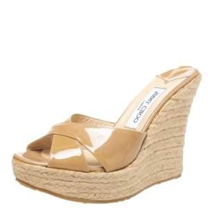 Jimmy Choo Beige Patent Leather Phyllis Espadrilles Platform Wedges Sandals Size 39