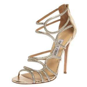 Jimmy Choo Silver Glitter Fabric And Metallic Gold Embossed Snakeskin Strappy Sandals Size 37.5
