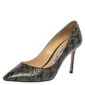 Jimmy Choo Two Tone Python Leather Abel Pointed Toe Pumps Size 35