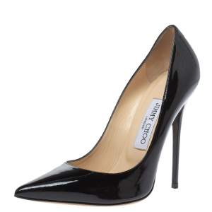 Jimmy Choo Black Patent Leather Abel Pointed Toe Pumps Size 37