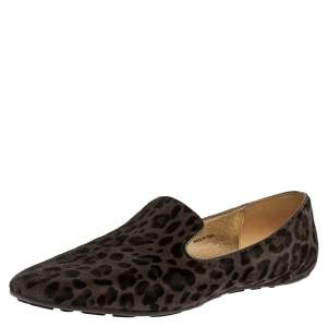 Jimmy Choo Grey Leopard Print Calf Hair Wheel Smoking Slippers Size 39