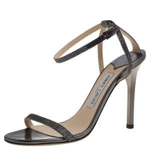 Jimmy Choo Silver Shimmery Fabric Daisy Ankle Strap Sandals Size 37.5