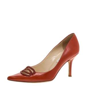 Jimmy Choo Orange Leather Pointed Toe Pumps Size 37.5