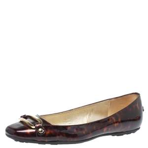 Jimmy Choo Brown Patent Leather Morse Buckle Ballet Flats Size 37