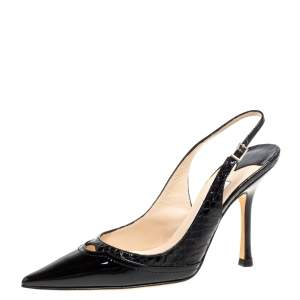 Jimmy Choo Black Patent Leather and Python Effect Leather Slingback Pointed Toe Pumps Size 37.5