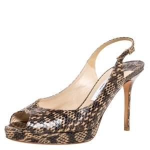 Jimmy Choo Brown/Beige Snakeskin Nova Slingback Peep Toe Platform Sandals Size 39