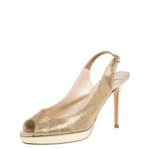 Jimmy Choo Gold Shimmery Fabric Nova Slingback Peep Toe Platform Sandals Size 37.5