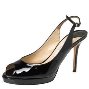 Jimmy Choo Black Patent Leather Nova Slingback Peep Toe Platform Sandals Size 37