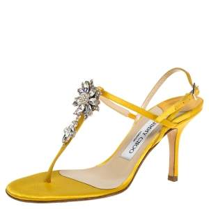 Jimmy Choo Yellow Satin Crystal Embellished T-Strap Slingback Sandals Size 36