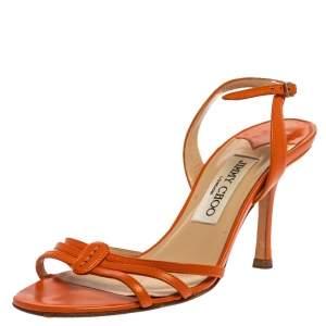 Jimmy Choo Orange Leather Strappy Slingback Sandals Size 36.5