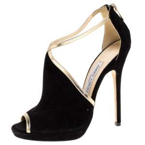 Jimmy Choo Black Suede Leather Platform Ankle Strap Sandals Size 37.5