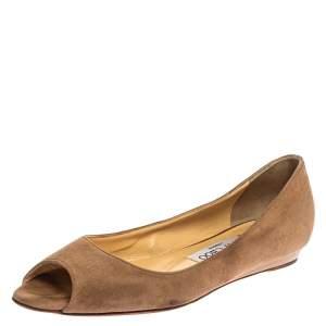 Jimmy Choo Beige Suede Leather Peep Toe Ballet Flats Size 36