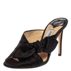 Jimmy Choo Black Satin Keely Knotted Bow Peep Toe Slides Size 35