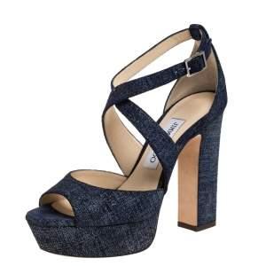 Jimmy Choo Blue Textured Suede Leather April Platform Ankle Strap Sandals Size 36