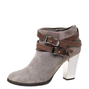 Jimmy Choo Grey Suede Leather Buckle  Ankle Booties Size 39