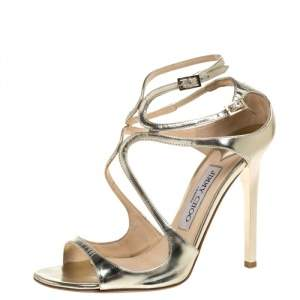 Jimmy Choo Gold Leather Lance Strappy Sandals Size 37