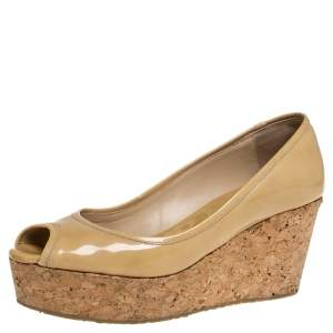 Jimmy Choo Beige Patent Leather Cork Wedge Papina Pumps Size 37