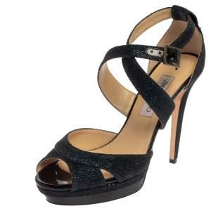 Jimmy Choo Navy Blue Glitter Fabric Lottie Sandals Size 41