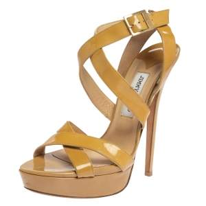 Jimmy Choo Beige Patent Leather Vamp Platform Sandals Size 41.5
