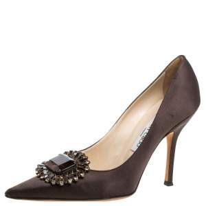 Jimmy Choo Dark Brown Satin Embellished Pointed Toe Pumps Size 40