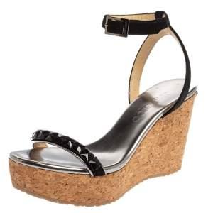 Jimmy Choo Black Suede Leather Natsby Embellished Cork Wedge Platform Ankle Strap Sandals Size 36