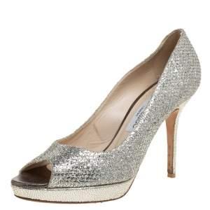 Jimmy Choo Gold Coarse Glitter Luna Pumps Size 38