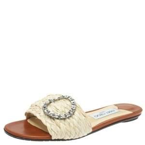 Jimmy Choo Cream/Brown Raffia Granger Crystal Embellished Slides Size 38