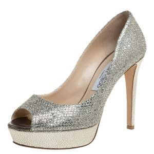 Jimmy Choo Gold Champagne Glitter Luna Peep Toe Platform Pumps Size 38