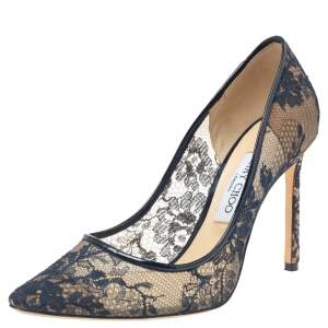 Jimmy Choo Blue Lace And Mesh Pointed Toe Pumps Size 39