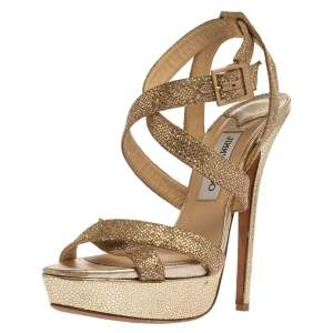 Jimmy Choo Gold Coarse Glitter Lottie Antique Sandals Size 40