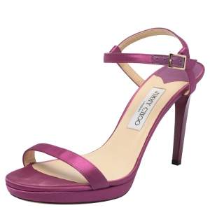 Jimmy Choo Purple Satin Minny Ankle Strap Sandals Size 41